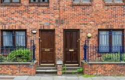 Brick houses and doors in Dublin.